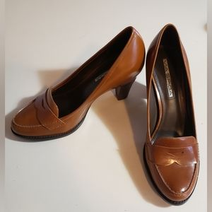 Via Spiga Cognac Loafer Pump Block Heel 6